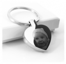 Heart Photo/Text Engraved Keyring